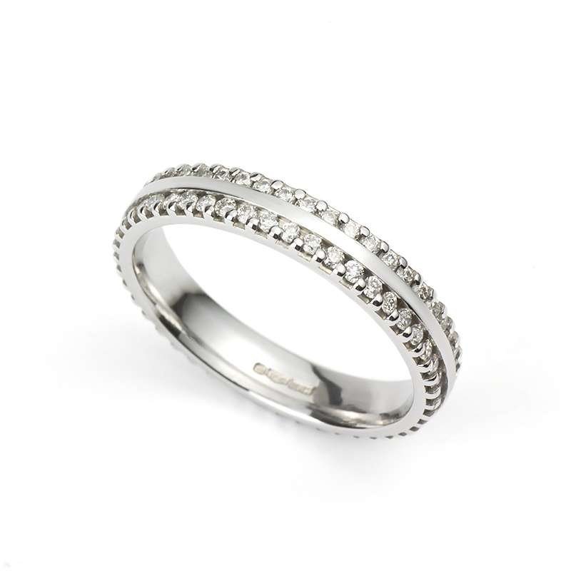 Diamond 2 Row Full Eternity Ring in Platinum 0.53ct